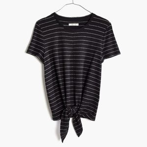 Madewell Striped Tie Front Shirt Black Size Large